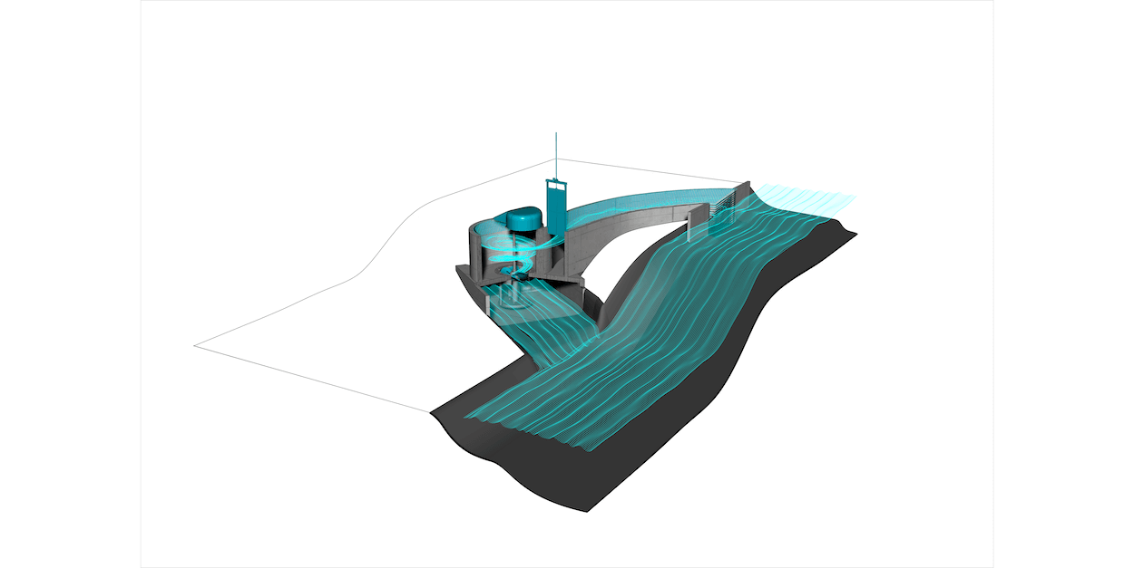 Een render van de set-up voor een mini-waterkrachtcentrale. Met een in- en uitvoerkanaal en een bekken voor de turbine.